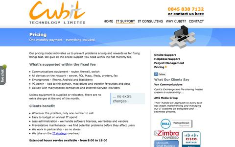 Screenshot of Pricing Page cubittech.com - Pricing - captured Oct. 3, 2014