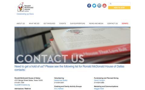Screenshot of Contact Page rmhdallas.org - Contact Us | Ronald McDonald House of Dallas - captured Dec. 1, 2016