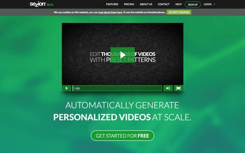 Screenshot of Home Page sezion.com - Automatically generate personalized videos at scale | Sezion - captured Jan. 15, 2015
