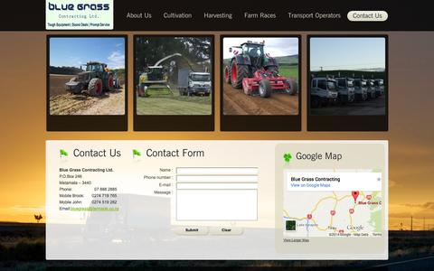 Screenshot of Contact Page bluegrasscontracting.co.nz - Contact Us | Blue grass contracting ltd - captured Oct. 5, 2014