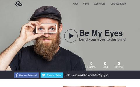 Screenshot of Home Page bemyeyes.org - Be My Eyes ~ Lend Your Eyes to the Blind - captured Nov. 3, 2015