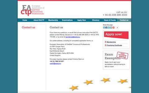 Screenshot of Contact Page eactp.eu - Contact us - European Association of Turnaround Professionals - captured Sept. 26, 2014