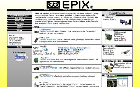 Screenshot of Home Page epixinc.com - EPIX, Inc. - Image Processing for Research and Industry - captured Sept. 26, 2014