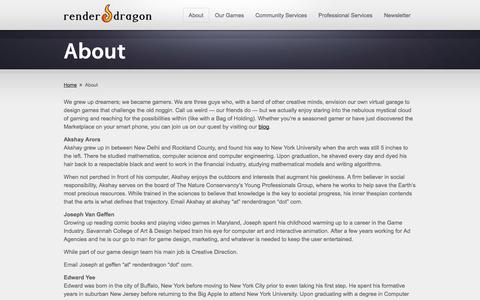 Screenshot of About Page renderdragon.com - About « renderDragon Games - captured Oct. 26, 2014