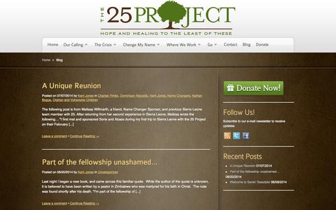 Screenshot of Blog 25project.org - Blog | The 25 ProjectThe 25 Project - captured Oct. 27, 2014
