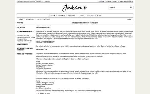 Screenshot of Privacy Page jacksonsart.com - Site Security / Privacy Statement | Jackson's Art Supplies - captured Nov. 26, 2016