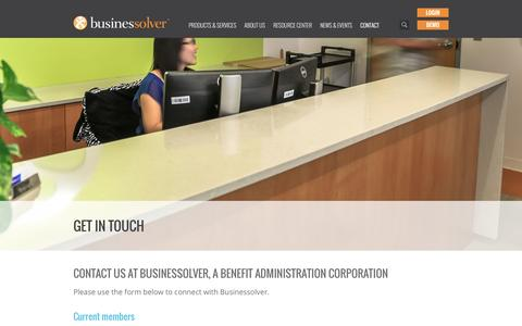 Screenshot of Contact Page businessolver.com - Contact Us | Businessolver Benefit Administrative Systems - captured Jan. 7, 2016