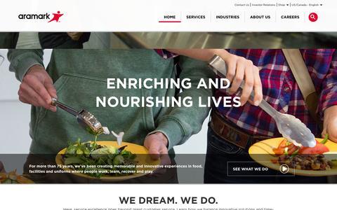Screenshot of Home Page aramark.com - Aramark | Food, Facilities, and Uniform Services - captured Dec. 2, 2015