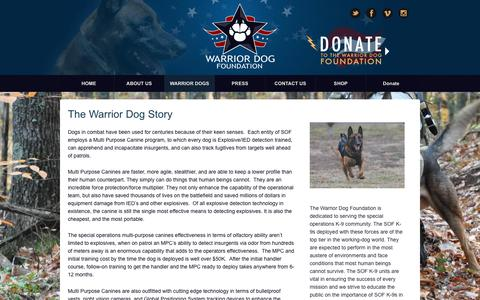 Screenshot of Services Page warriordogfoundation.org - The Warrior Dog Story - - captured June 17, 2017