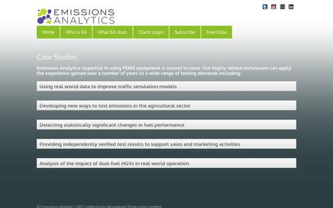 Screenshot of Case Studies Page emissionsanalytics.com - Case Studies | Emissions Analytics | Emissions Data Products - captured Oct. 28, 2014