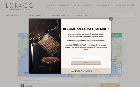 Screenshot of Locations Page lxrco.com - Boutique - LXR&CO Vintage Luxury - captured July 10, 2016