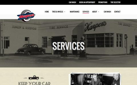 Screenshot of Services Page harperstire.com - Services - Harper's Tire - captured Jan. 26, 2016