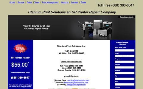 Screenshot of Contact Page titaniumprint.com - Contact Page  |  Titnaium Print Solutions (888) 380-8847 - captured Oct. 7, 2014