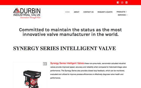 Screenshot of Home Page durbinvalve.com - Durbin Industrial Valve Inc. – Innovation Through Flow - captured Oct. 13, 2017