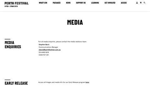 Screenshot of Press Page perthfestival.com.au - Media - Perth Festival - captured Sept. 27, 2018