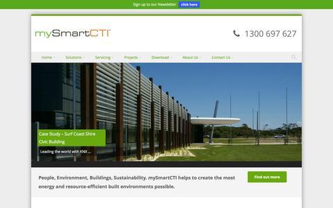 Screenshot of Home Page mysmartcti.com.au - mySmartCTI | Australia's leading Energy Management and Control Solutions Integrator. - captured Jan. 23, 2016