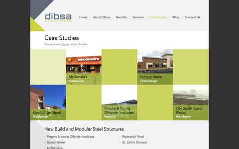 Screenshot of Case Studies Page dibsa.co.uk - View Our Work – Case Studies | Dibsa Structures - captured Oct. 5, 2014