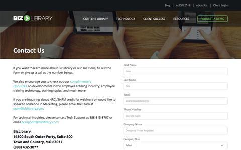 Screenshot of Contact Page bizlibrary.com - Contact Us | BizLibrary - captured Feb. 21, 2018