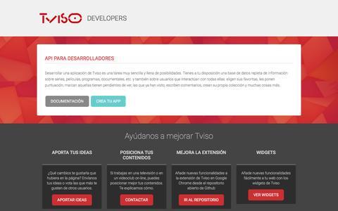 Screenshot of Developers Page tviso.com - Developers - Tviso - captured Aug. 19, 2016