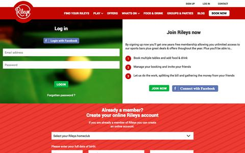 Screenshot of Login Page rileys.co.uk - Login to your Rileys account - captured Nov. 4, 2017