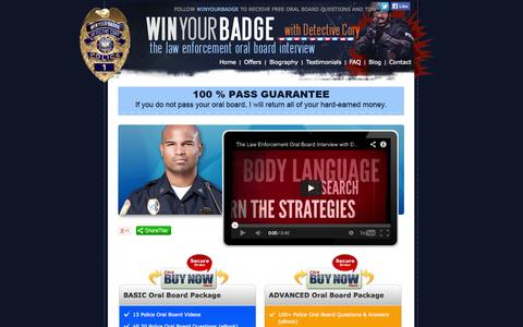Screenshot of Home Page winyourbadge.com - How To Be A Police Officer | Police Interview | Police Exam - captured Oct. 3, 2014