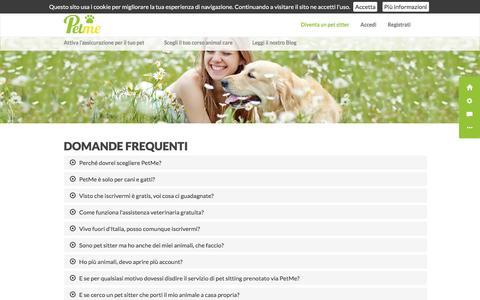 Screenshot of FAQ Page petme.it - PetMe - Il più grande motore di ricerca per dog sitter, cat sitter e pet sitter - captured Aug. 29, 2016