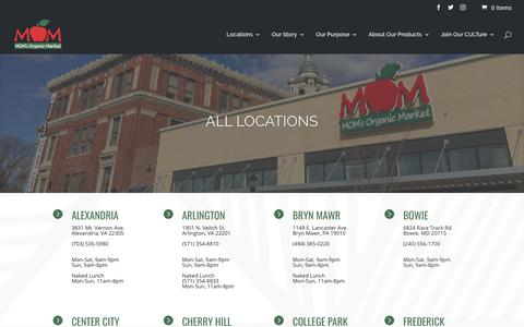 Screenshot of Locations Page momsorganicmarket.com - All locations | MOM's Organic Market - captured July 1, 2018
