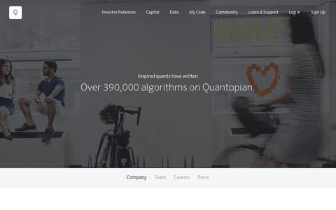 Screenshot of About Page Jobs Page quantopian.com - About Quantopian - captured June 18, 2016