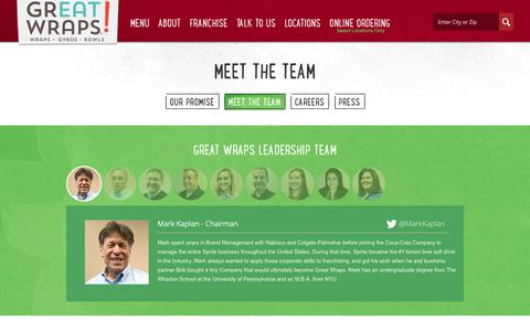 Screenshot of Team Page greatwraps.com - Meet the Team - captured Sept. 26, 2018