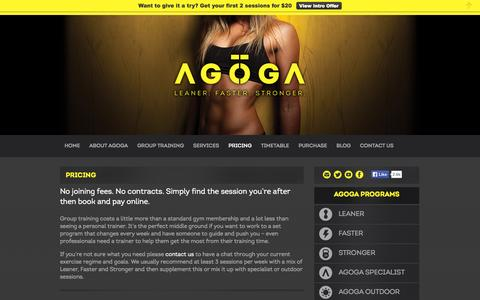 Screenshot of Pricing Page agoga.com.au - Bondi Personal Training and Gym price list - captured Sept. 30, 2014