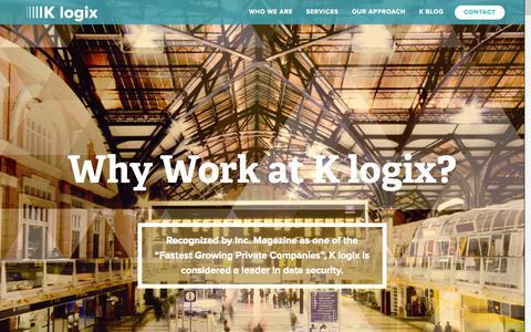 Screenshot of Jobs Page klogixsecurity.com - Careers | K logix - captured Oct. 9, 2014