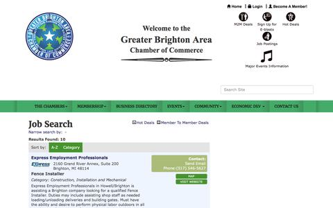Screenshot of Jobs Page brightoncoc.org - Job Search - Greater Brighton Area Chamber of Commerce, MI - captured Nov. 30, 2016