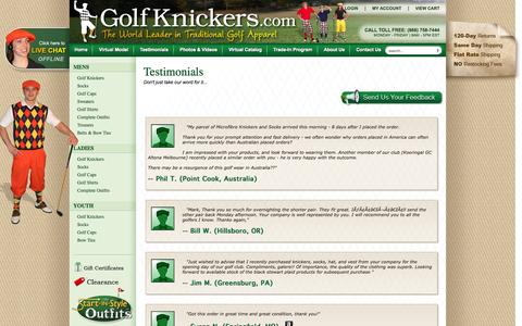 Screenshot of Testimonials Page golfknickers.com - Testimonials - GolfKnickers.com - captured Oct. 2, 2014