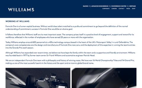 Screenshot of Jobs Page williamsf1.com - Williams F1 - captured Sept. 22, 2015