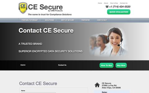 Screenshot of Contact Page Support Page cesecure.com - Contact CE Secure - captured Oct. 22, 2014