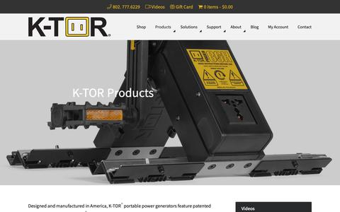 Screenshot of Products Page k-tor.com - K-TOR Electric Power Generator Products - captured Oct. 1, 2018