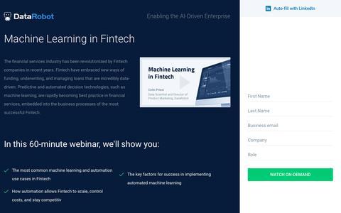 Screenshot of Landing Page datarobot.com - Machine Learning in Fintech - DataRobot - captured Sept. 19, 2018