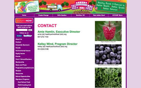Screenshot of Contact Page healthyschoolfood.org - Contact NY Coalition for Healthy School Food - captured Oct. 7, 2014