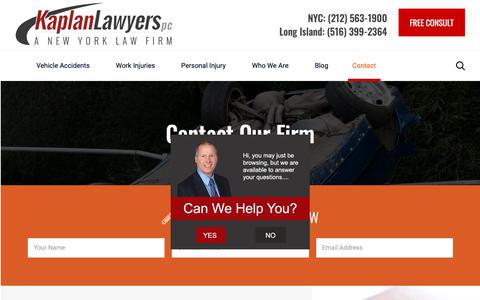 Screenshot of Contact Page kaplanlawyers.com - Contact Us For a Free Consultation | Kaplan Lawyers, PC - captured Jan. 18, 2019