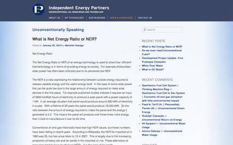 Screenshot of Blog iepm.com - Unconventionally Speaking | Blog | Thought Leadership | Independent Energy Partners | Unconventional Oil Resources and Technology - captured Oct. 6, 2014