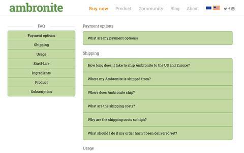 Screenshot of FAQ Page ambronite.com - Ambronite - Drinkable Supermeal - Healthy Shake - FAQ | Ambronite US - captured Nov. 20, 2016