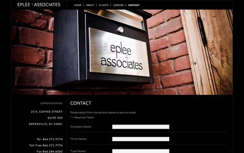 Screenshot of Contact Page eplee.com - EPLEE + ASSOCIATES - captured Oct. 2, 2014