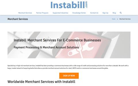 Screenshot of Services Page instabill.com - Merchant Services - Instabill - captured Oct. 29, 2015