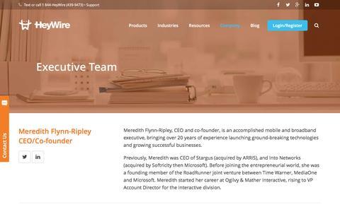 Screenshot of Team Page heywire.com - HeyWire - Management Team - captured Dec. 4, 2015
