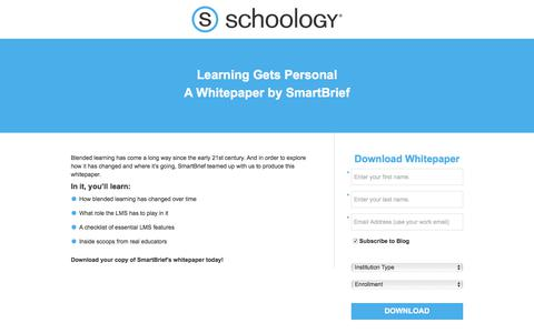 Screenshot of Landing Page schoology.com - Learning Gets Personal: A Whitepaper by SmartBrief - captured Jan. 23, 2018