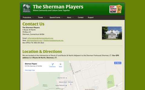 Screenshot of Contact Page Maps & Directions Page shermanplayers.org - Contact The Sherman Players - captured March 10, 2016