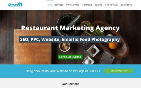 Screenshot of Home Page emerz.co.uk - emerz   Online Marketing Company for Restaurants - captured Sept. 17, 2015