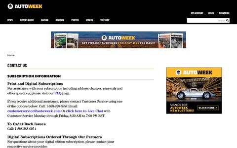 Screenshot of Contact Page autoweek.com - Contact Us | Autoweek - captured May 15, 2019