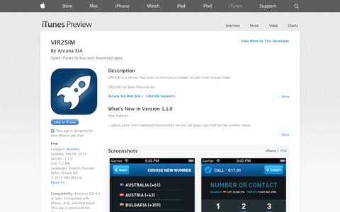 Screenshot of iOS App Page apple.com - VIR2SIM on the App Store on iTunes - captured Oct. 26, 2014