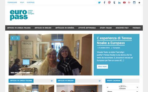 Screenshot of Blog europass.it - Learn Italian in Florence - Europass Blog | Learn Italian at EUROPASS: Art, Culture, Cooking, Music and Teacher Training in Florence. www.europass.it - captured Oct. 17, 2016